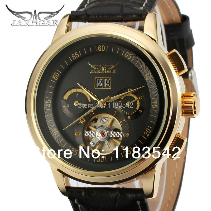 Jargar Automatic gold color men wristwatch tourbillon black leather strap new  JAG16557M3G1
