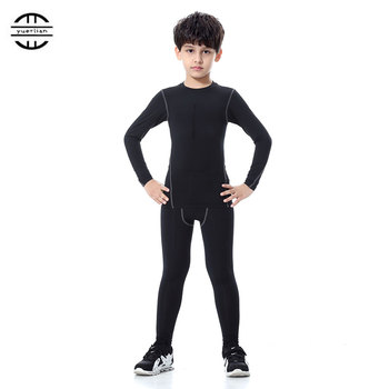 YEL Hot Children Compression Wicking sport suit Fitness Tight Tracksuit Long Sleeve T-shirt leggings Pant Kids Gym Running Set